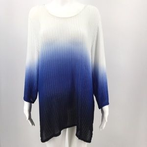 CHICOS Travelers 3 Ombré Sweater XL 16 Blue White